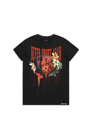Floral Drip Womans T-Shirt - Black