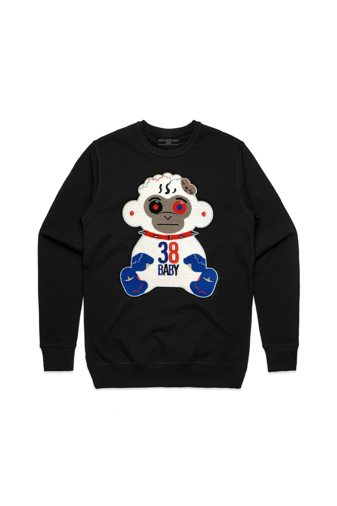 4KT Monkey Chenille Patch Crew Neck - Black