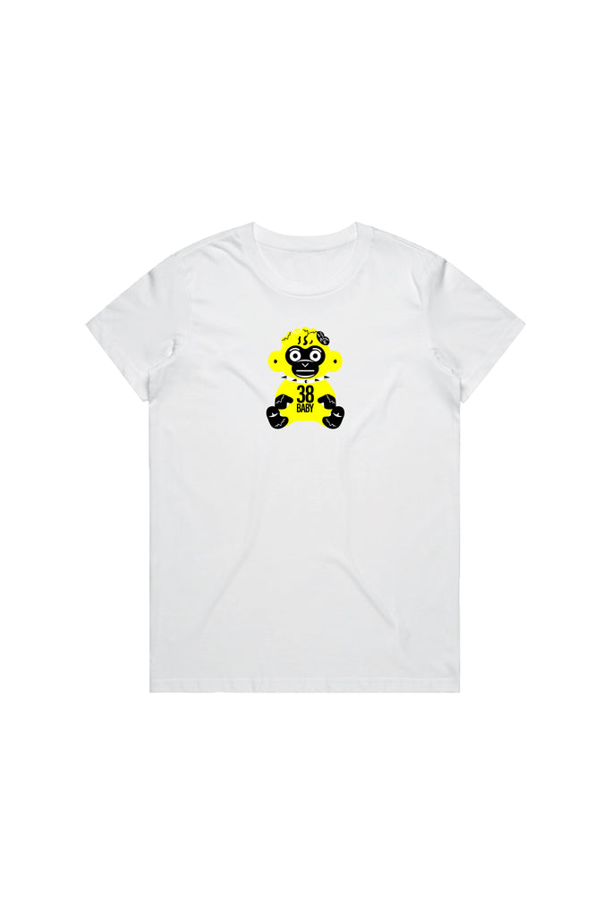 Yellow 38 Baby Monkey T-Shirt Woman's - White