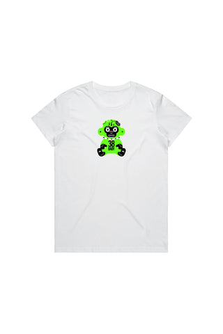 Green 38 Baby Monkey T-Shirt Woman's - White