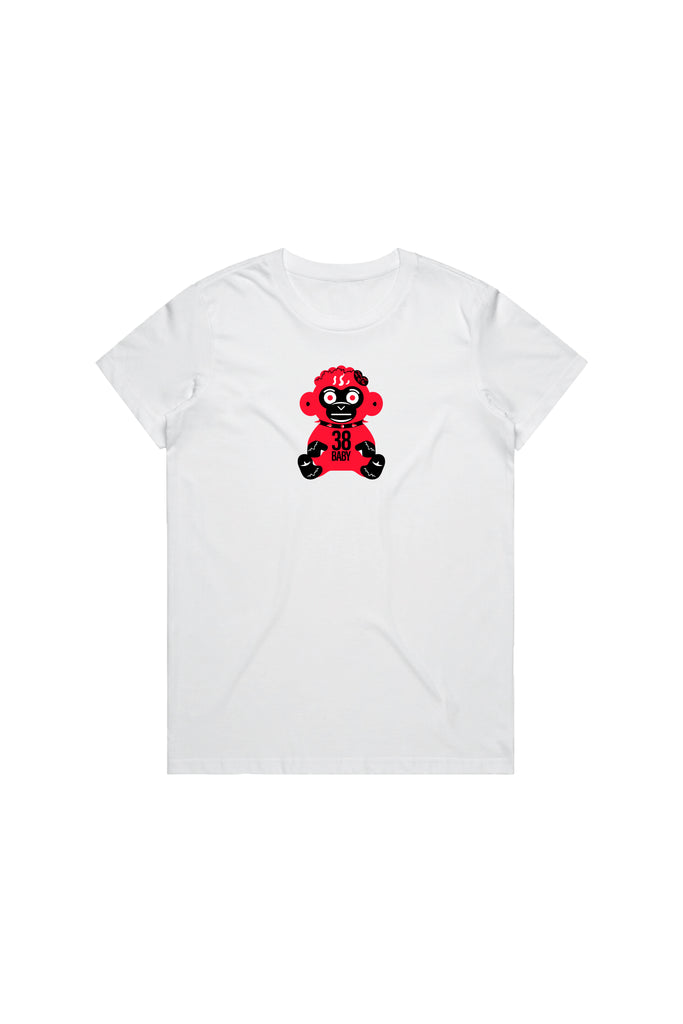Red 38 Baby Monkey T-Shirt Woman's - White