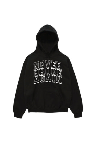 Stacked White Hoody - Black