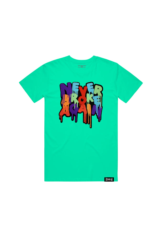 Drip Chenille Patch T-Shirt - Teal