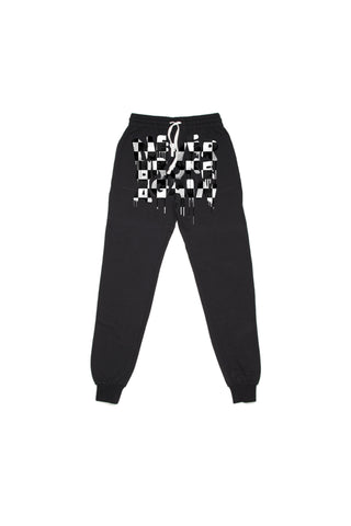 Drip Checkers Joggers - Black