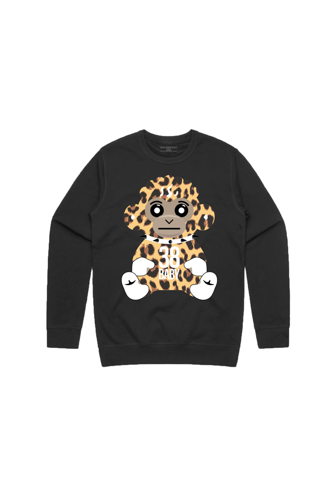 38 Baby Monkey Cheetah Crew Neck - Black