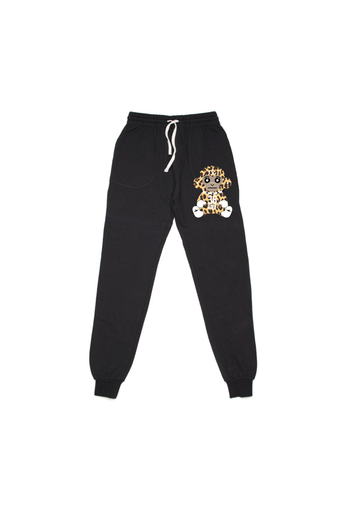 38 Baby Monkey Cheetah Joggers - Black