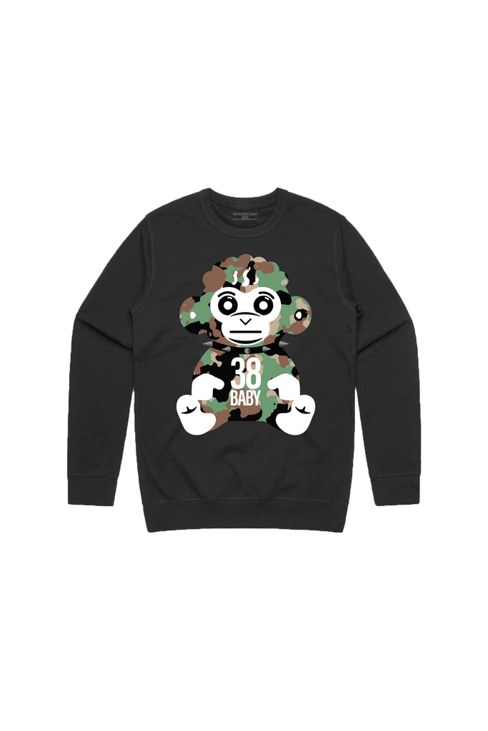 38 Baby Monkey Camo Crew Neck - Black