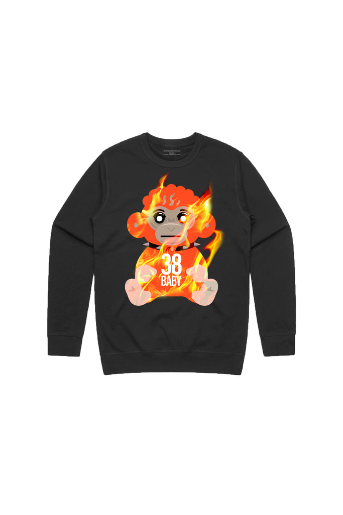 38 Baby Monkey Flame Crew Neck - Black