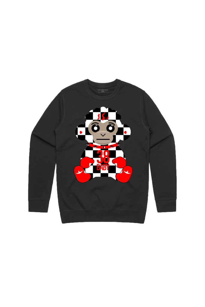 38 Baby Monkey Checkers Crew Neck - Black