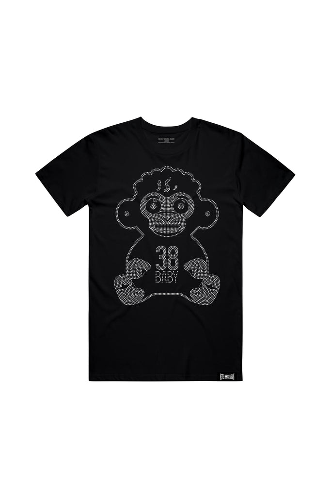 38 Baby Monkey Rhine Stone T-Shirt - Black
