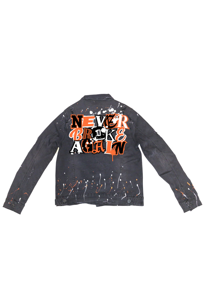 Never Broke Again Ransom Splatter Jean Jacket - Black