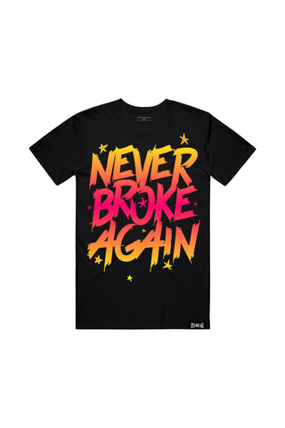 Never Broke Again Faded Yellow Red T-Shirt - Black