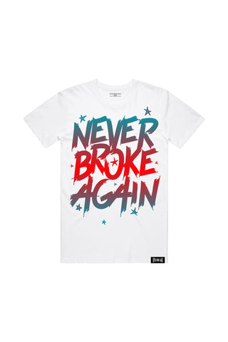 Never Broke Again Faded Blue Red T-Shirt - White