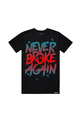 Never Broke Again Faded Blue Red T-Shirt - Black