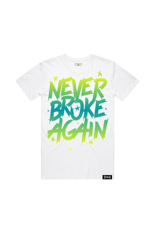 Never Broke Again Faded Yellow Blue T-Shirt - White