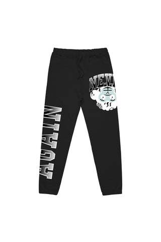 Monkey Head Grey Joggers - Black