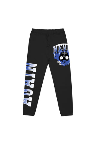 Blue Monkey Head Joggers - Black