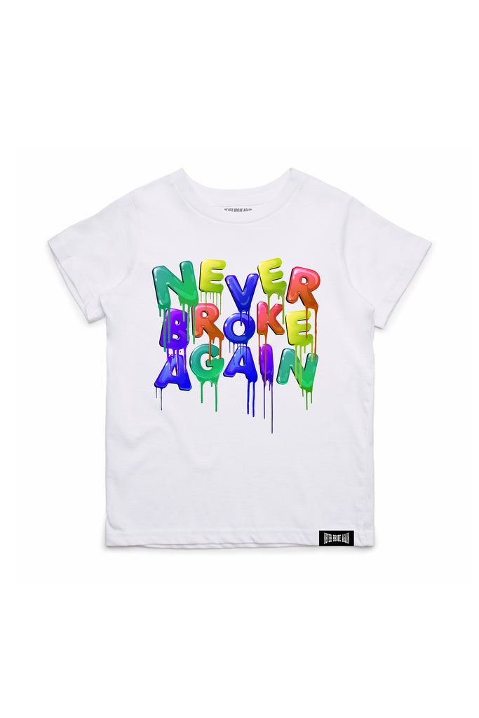 Never Broke Again Drip Kids T-Shirt - White