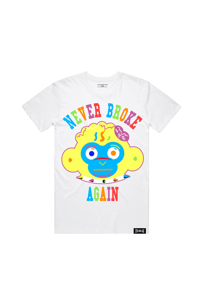 Monkey Head Colorful - White