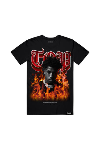 Top In Flames T-Shirt - Black
