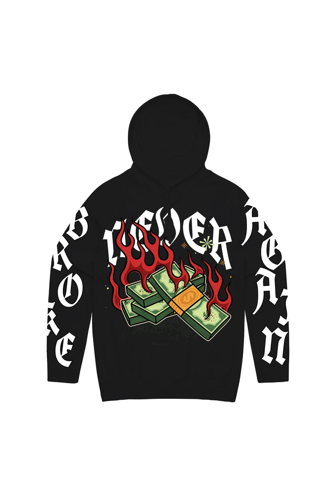 Money Flames Hoody - Black