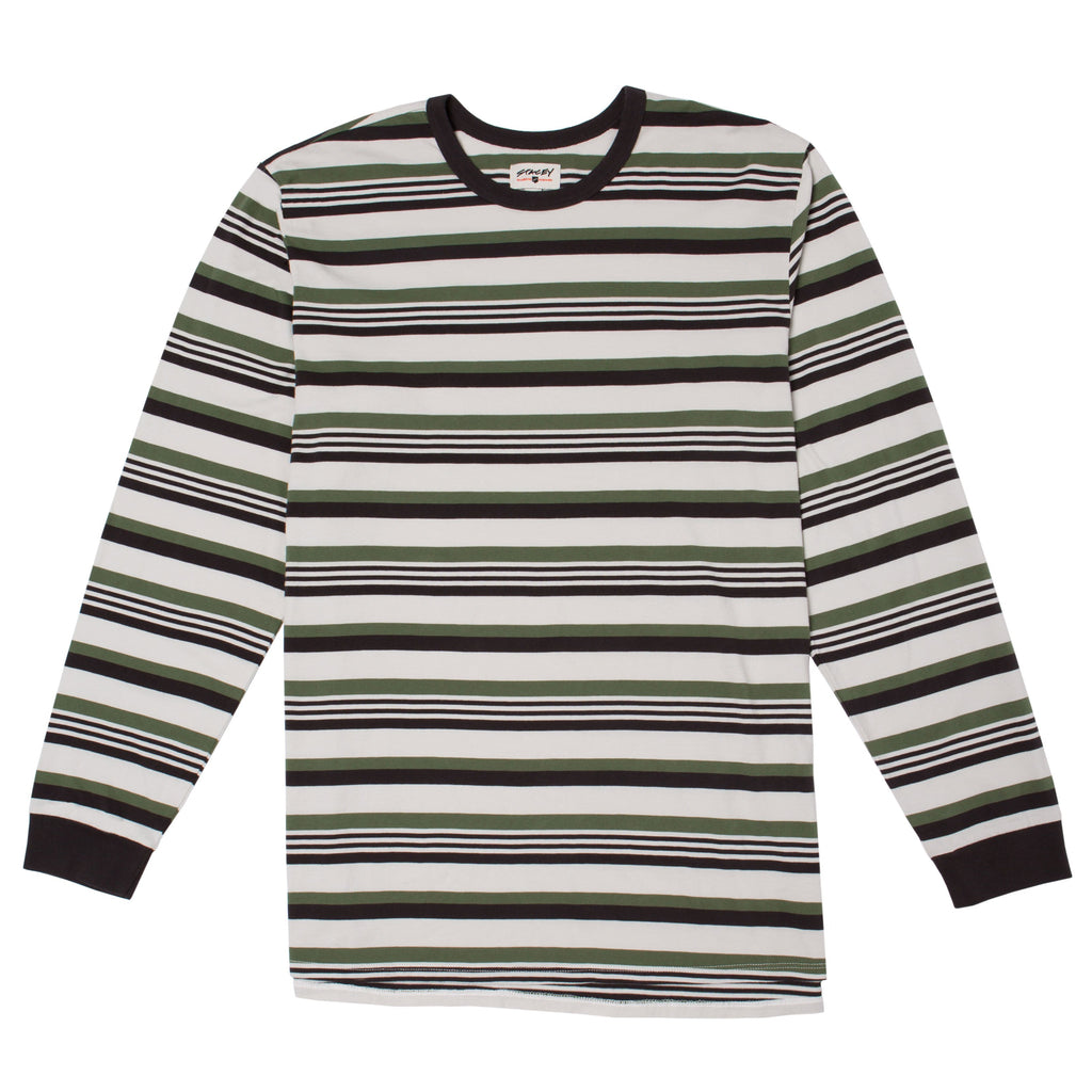 Stacey Old School Vintage Striped L/S Tee - Natural / Vintage Black / Army