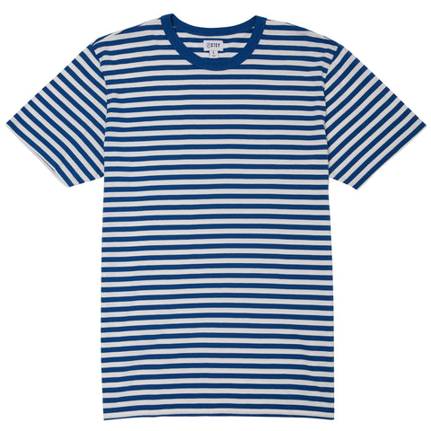 MINI FEEDER STRIPE TEE - DENIM / OFF-WHITE