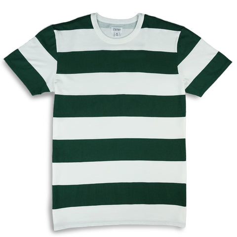LEAGUE STRIPE TEE YOUTH - OFF WHITE / FOREST GREEN