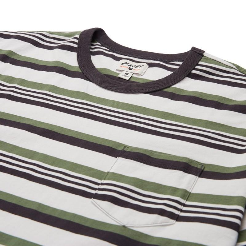 Stacey Old School Vintage Striped Tee - Natural / Vintage Black / Army