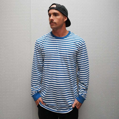 MINI FEEDER STRIPE LONG SLEEVE TEE - DENIM / OFF-WHITE