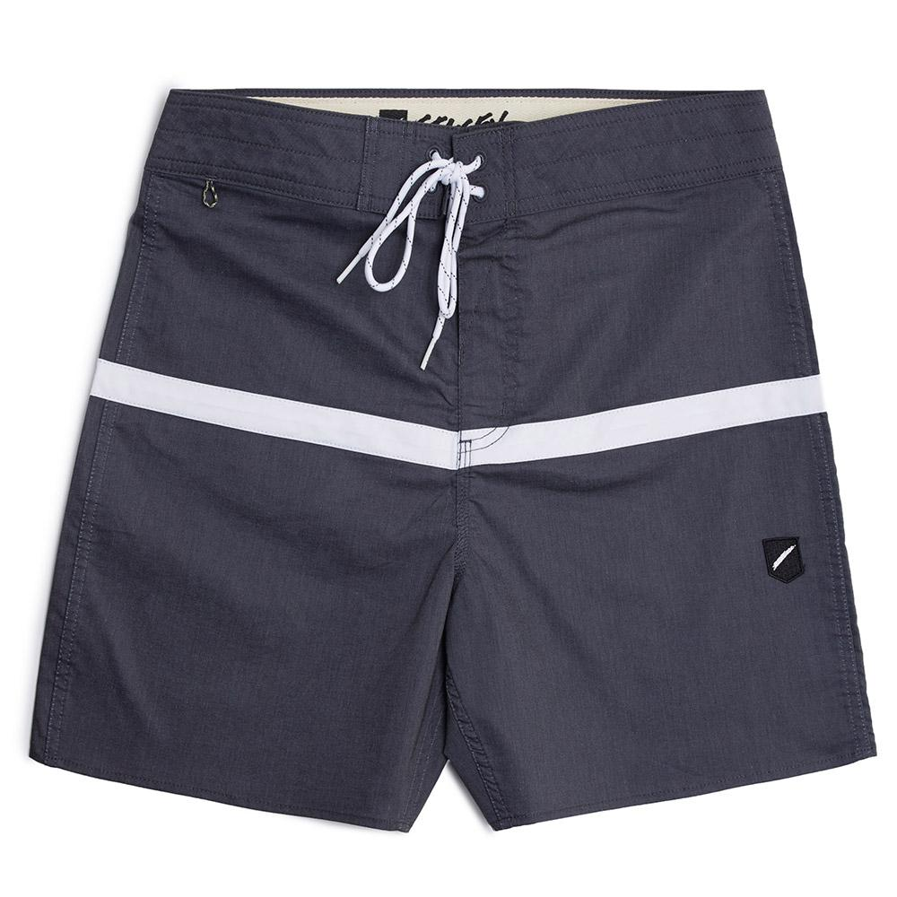 Stacey White Stripe Boardshort - Black