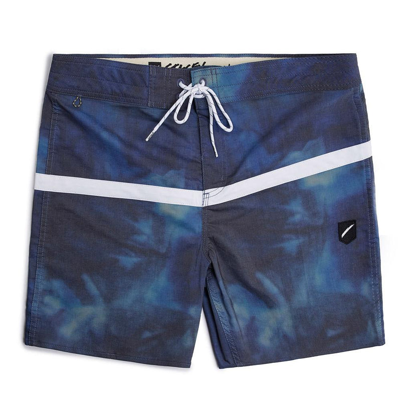 Stacey White Stripe Boardshort - Navy Ocean Dye