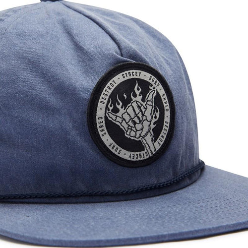 Stacey Flaming Shaka Unstructured Snapback - Indigo