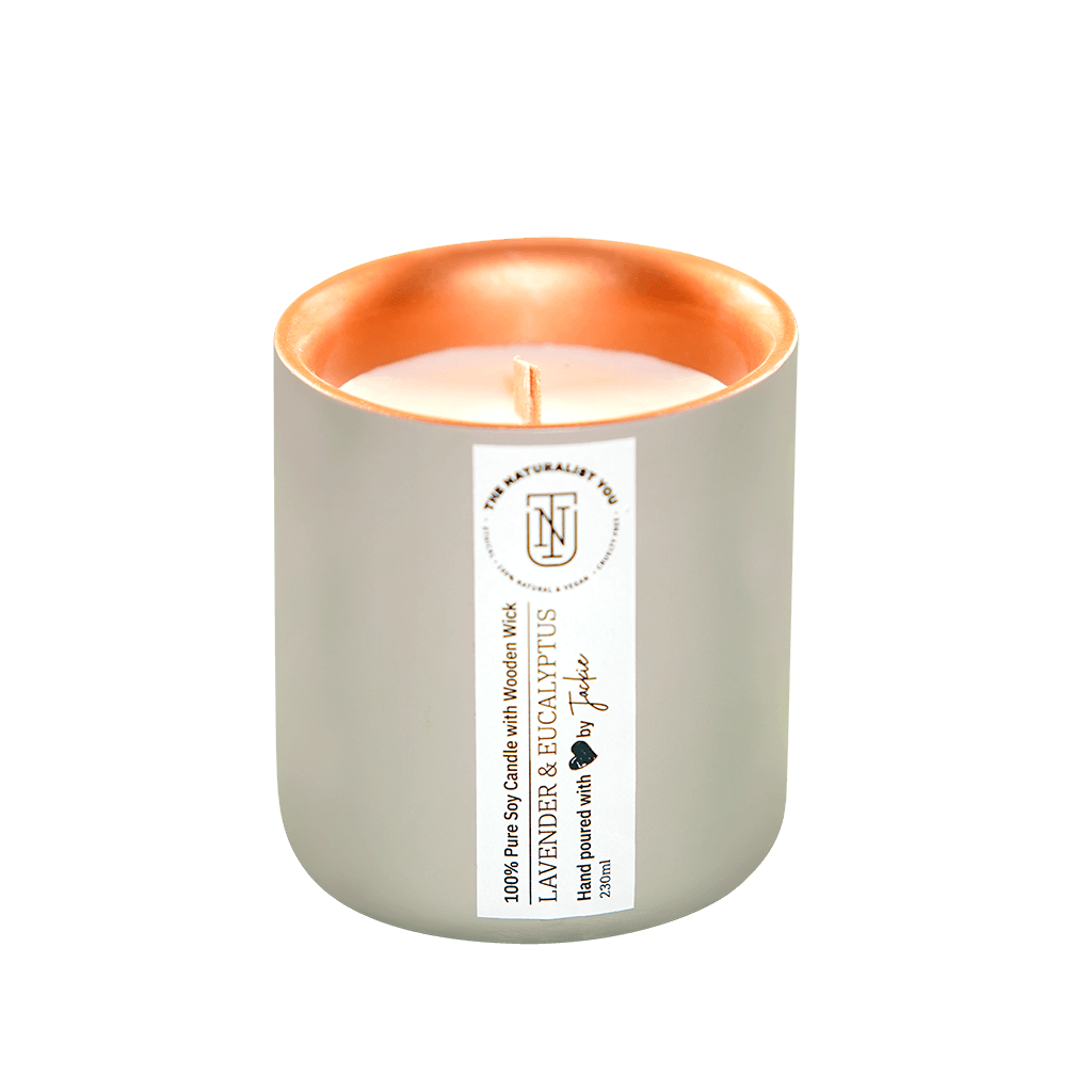 Lavender and Eucalyptus, 100% Pure Soy Candle + Wooden Wick The Naturalist You