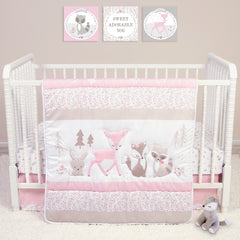 Sweet Forest Friends Crib Bedding Set on a crib in a room