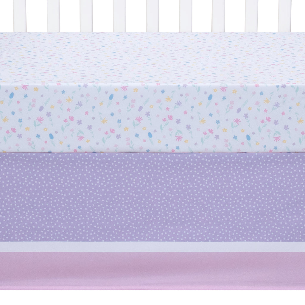 Rainbow Showers Crib Sheet & Skirt on Crib