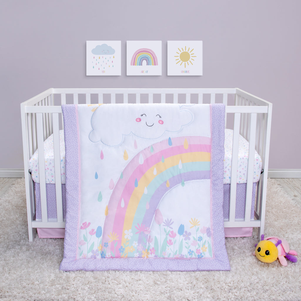Rainbow Showers 4 Piece Crib Bedding Set