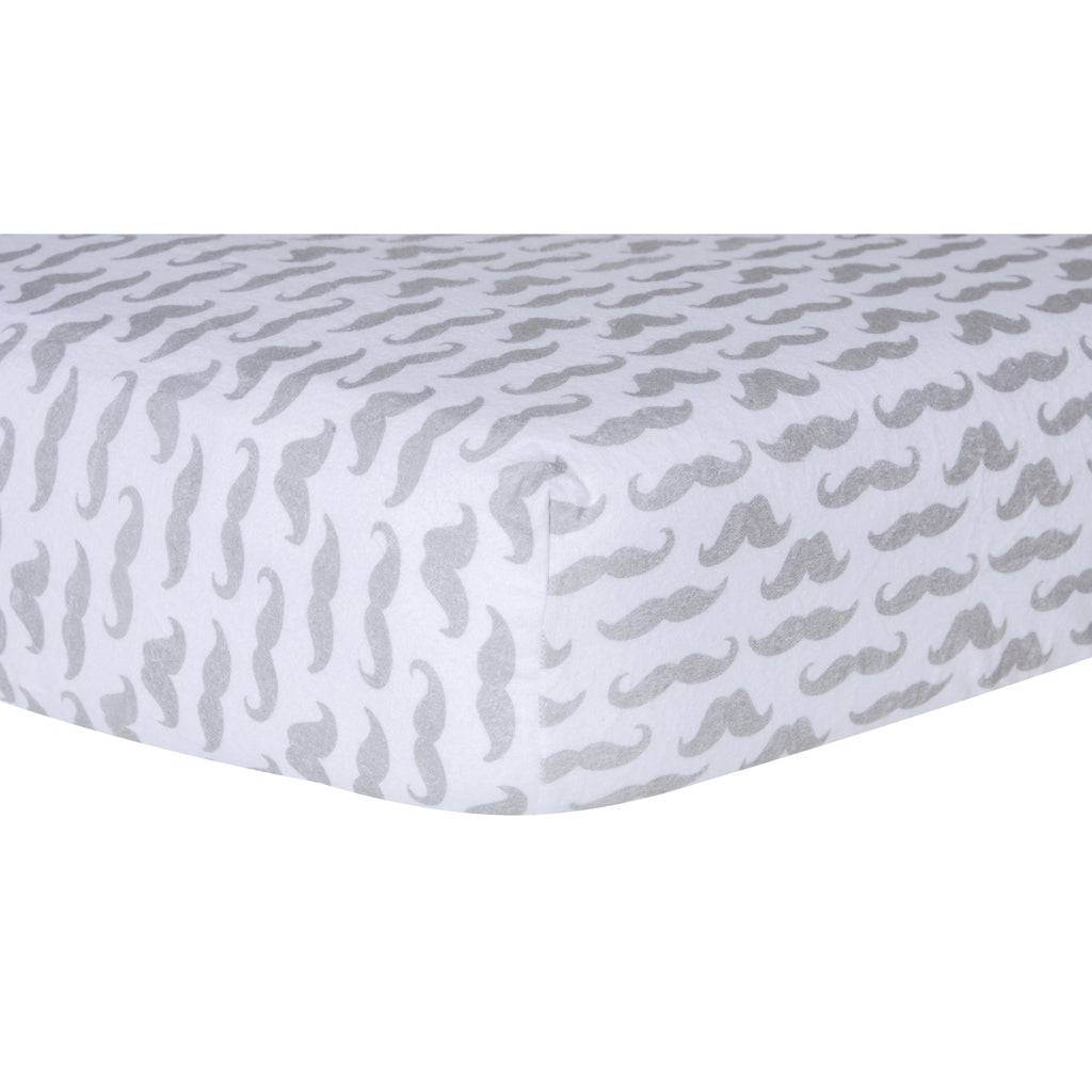Mustache Deluxe Flannel Fitted Crib Sheet100025$17.99Trend Lab
