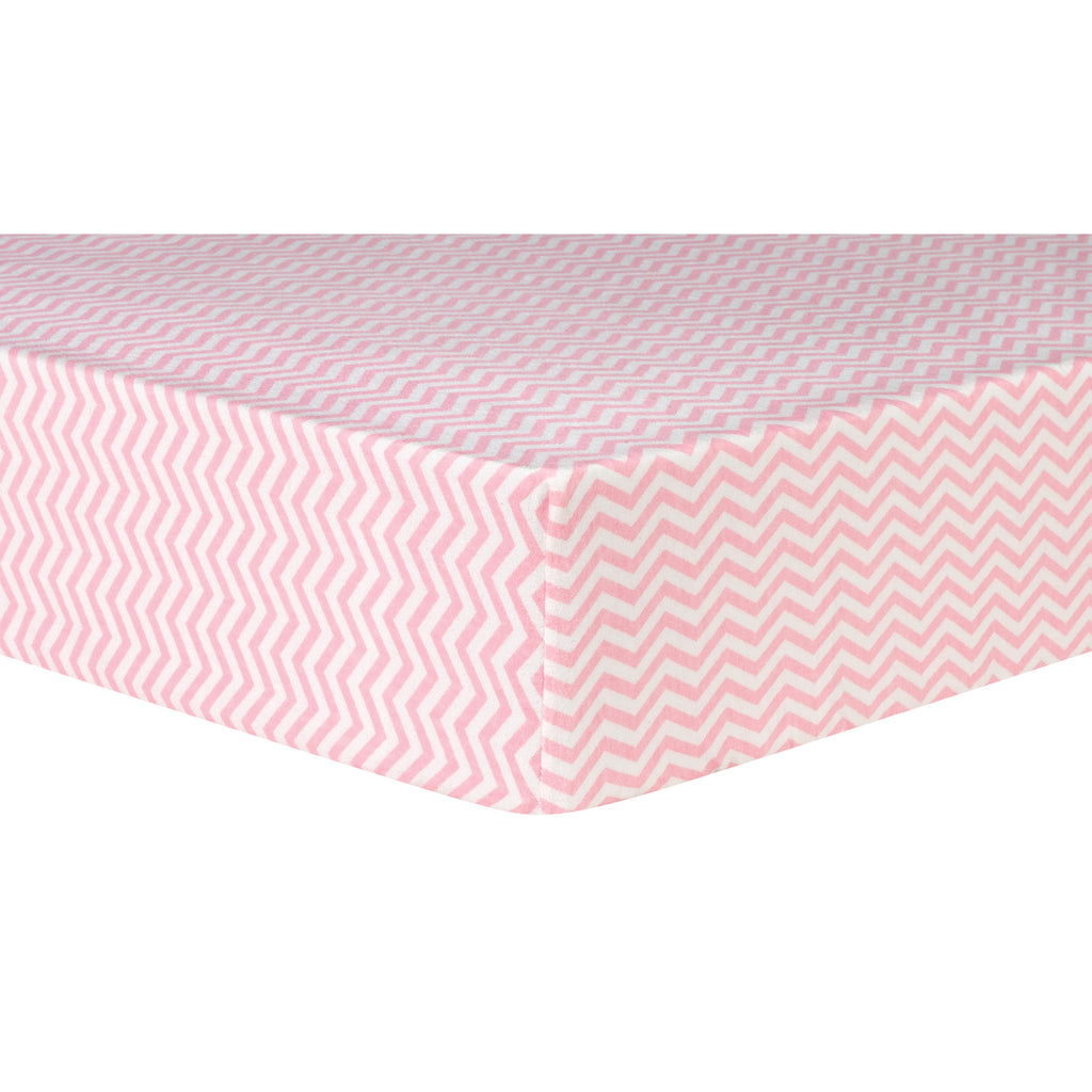 Pink Chevron Deluxe Flannel Fitted Crib Sheet Trend Lab, LLC