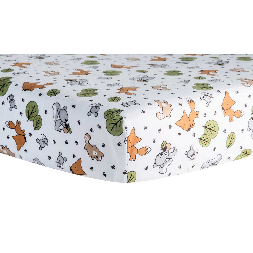 Forest Animal Deluxe Flannel Fitted Crib Sheet Trend Lab, LLC