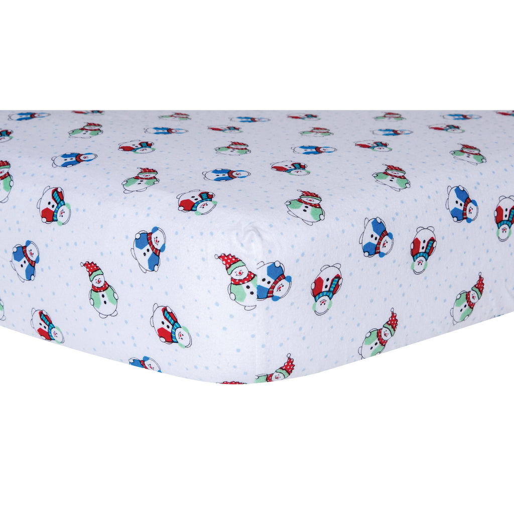 Snowman Deluxe Flannel Fitted Crib Sheet Trend Lab, LLC