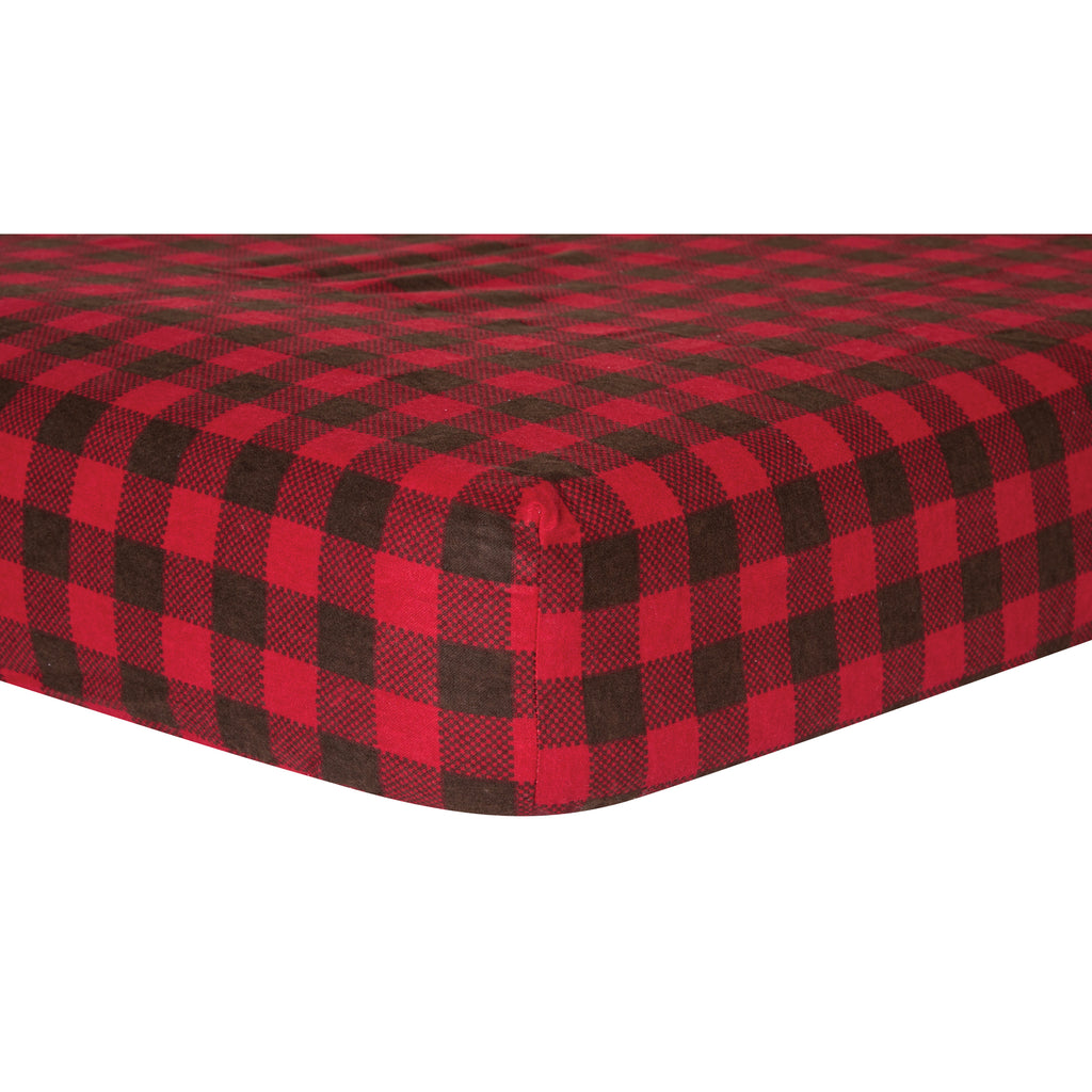 Brown and Red Check Deluxe Flannel Fitted Crib Sheet Trend Lab, LLC