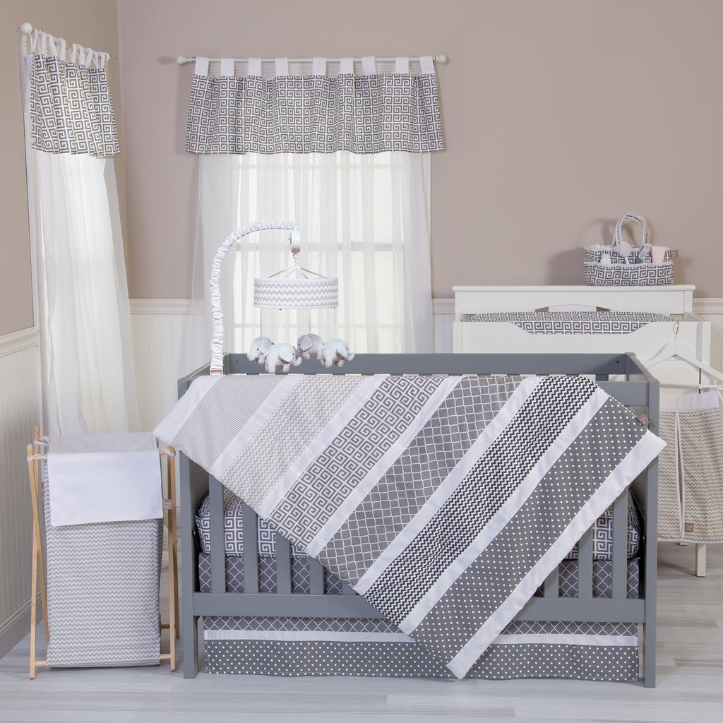 Ombre Gray 5 Piece Crib Bedding Set