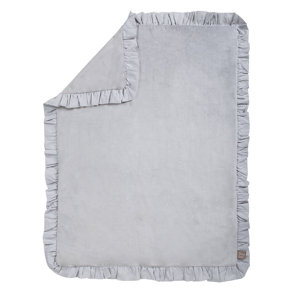 Dove Gray Ruffled Trimmed Receiving Blanket100506$19.99Trend Lab