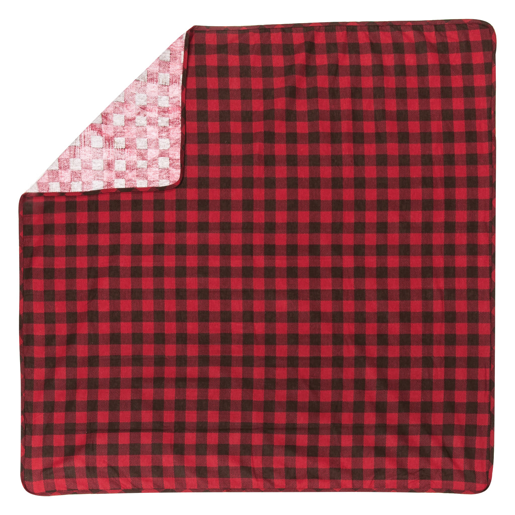 Brown and Red Check Print Flannel Swaddle Blanket