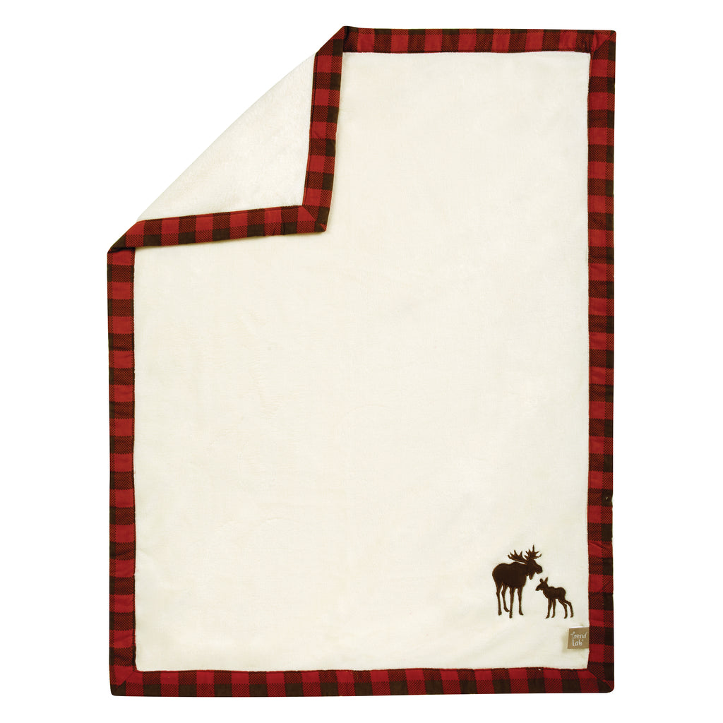 Northwoods Moose Framed Coral Fleece Receiving Blanket Trend Lab, LLC