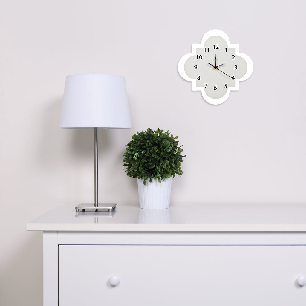Gray Quatrefoil Wall Clock