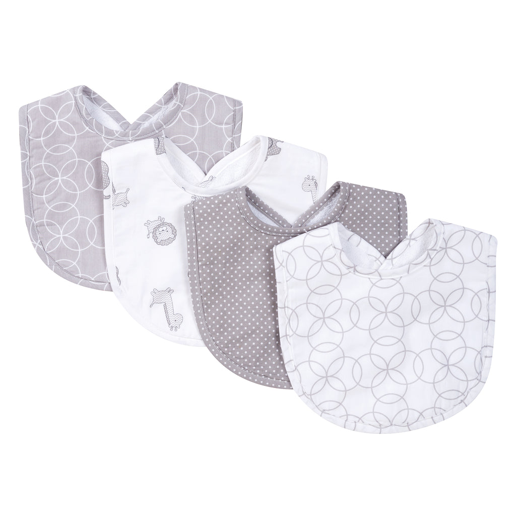Gray and White Circles 4 Pack Bib Set Trend Lab, LLC