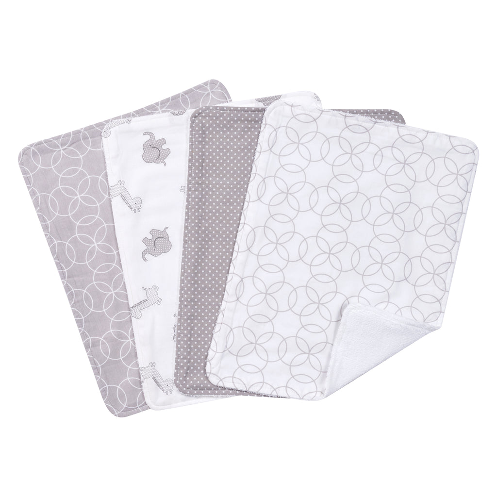 Gray and White Circles 4 Pack Burp Cloth Set Trend Lab, LLC