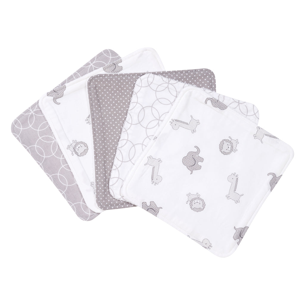 Gray and White Circles 5 Pack Wash Cloth Set Trend Lab, LLC
